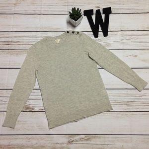 J. Crew Factory Button-Shoulder Crewneck Sweater